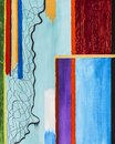 Colorful painting; contemporary abstraction graphic design fine art in acrylic paint; straight and curved lines