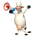 Fun Cow cartoon character with loudspeaker Royalty Free Stock Photo
