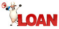 Fun Cow cartoon character with loudspeaker and loan Royalty Free Stock Photo