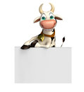 Fun Cow cartoon character with white board Royalty Free Stock Photo