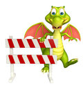 Fun Dragon cartoon character with baracade Royalty Free Stock Photo