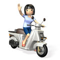 Fun drive young woman riding a scooter isolated computer generated image Royalty Free Stock Images