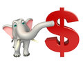 Fun elephant cartoon character with doller sign d rendered illustration of Stock Images