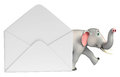 Fun Elephant cartoon character with mail Royalty Free Stock Photo