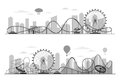 Fun fair amusement park landscape silhouette with ferris wheel, carousels and roller coaster Royalty Free Stock Photo