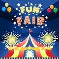 Fun fair poster at night template vector illustration Stock Images