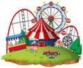 Fun fair theme park on isolated background Royalty Free Stock Photo