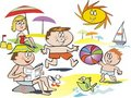 Fun family beach cartoon Stock Photo