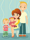 Fun family illustration in cartoon style a woman sits in a chair and holding a baby father and son standing beside her Stock Photos