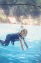 Fun in floating water ball Royalty Free Stock Photo