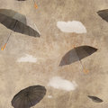 Fun flying umbrellas Royalty Free Stock Photo
