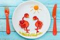 Fun food art strawberry flamingo Royalty Free Stock Photo