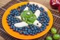 Fun food. Turtle made from kiwi and banana Royalty Free Stock Photo