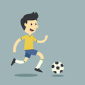 Fun football player on bule background Royalty Free Stock Image