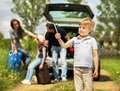 Fun friendly family is on a picnic. A car breakdown. Royalty Free Stock Photo