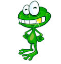 Fun frog cartoon with gold tooth Royalty Free Stock Photo