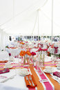 Fun and funky wedding tables Royalty Free Stock Photos