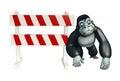 Fun Gorilla cartoon character with baracade Royalty Free Stock Photo