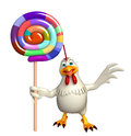 fun Hen cartoon character  with lollypop Royalty Free Stock Photo