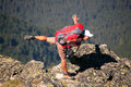 Fun hiker in bulgarian rila mountain Royalty Free Stock Photo