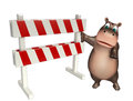 Fun Hippo cartoon character with baracade Royalty Free Stock Photo