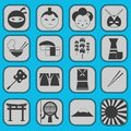Fun japanese icon pictogram collection set complet this is complete Stock Photo