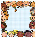Fun kid's frame, kids different races Stock Images