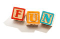 Fun in Letter Blocks Isolated on White Background Royalty Free Stock Photo