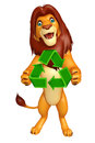 Fun Lion cartoon character with recycle Royalty Free Stock Photo