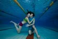 Fun and love underwater shoot of couple Royalty Free Stock Photography