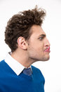 Fun man with tongue hanging out portrait of Royalty Free Stock Images