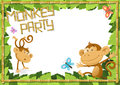 Fun monkey party jungle border illustration of a with the cheeky monkeys enjoying a Royalty Free Stock Image
