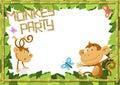 Fun Monkey Party Jungle Border. Royalty Free Stock Photo