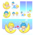 The fun moon on Girls and boys Angel Mascot. Angel Character Des Stock Images
