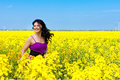 Fun in oilseed rape field portrait of a beautiful brunette violet dress Stock Images