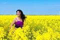 Fun in oilseed rape field Royalty Free Stock Photo