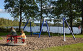 Fun on the outdoor playground Royalty Free Stock Photo