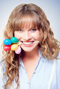 Fun party girl with balloons in mouth Royalty Free Stock Photography