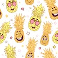 Fun pineapple faces seamless repeat pattern