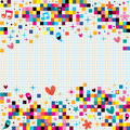 Fun pixel squares note paper background illustration Royalty Free Stock Photography