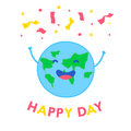 Fun planet with hands and serpentine. Happy Day card. Vector illustration