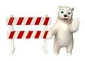 Fun  Polar bear cartoon character  with baracade Royalty Free Stock Photo