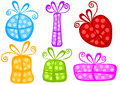 Fun polka dot gift boxes set of colorful doted with bows Royalty Free Stock Images