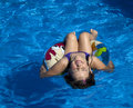 Fun in pool young girl the with life buoy Stock Images