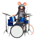 Fun rat cartoon character with drum d rendered illustration of Royalty Free Stock Photography