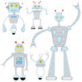 Fun robots set Royalty Free Stock Images