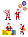 Fun santa in different pose Royalty Free Stock Image