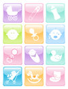 Fun set of baby icons web button set Royalty Free Stock Photo