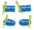Fun sign up button or icon with pencil Royalty Free Stock Photo