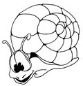 Fun snail outline drawing with big kind eyes Stock Photography